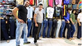 Men wearing jeans in Tajrish Bazaar in Tehran