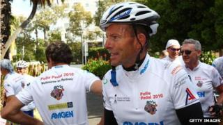 Tony Abbott at a Pollie Pedal Cycle charity event in Sydney, 15 April 2010