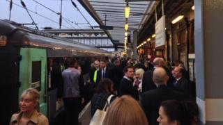 Delayed commuters, Ipswich Railway Station