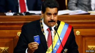 Nicolas Maduro speaks to the National Assembly on 8 October 2013