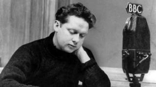 Dylan Thomas making a broadcast at the BBC in 1946