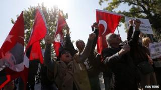 Relatives of the detained military officers stage a rally in Ankara