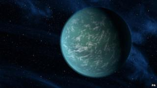 Artists impression: a planet discovered by the Kepler space telescope that sits in the habitable zone of a Sun-like star