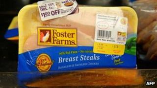 Foster Farms chicken is seen for sale in a grocery store in Los Angeles, California 8 October 2013
