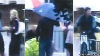 CCTV images of three people