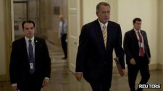 US House Speaker John Boehner (R-OH) arrives at the US Capital Building 9 October 2013
