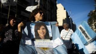 Cristina Fernandez's supporters outside the hospital