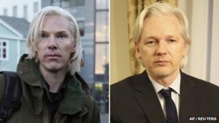 Benedict Cumberbatch as Julian Assange and Julian Assange composite picture