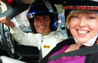 Helen at Silverstone with Formula 1 star David Coulthard