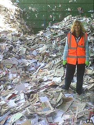 Lucy Binns, at a recycling depot near Taunton in Somerset