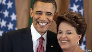 US President Barack Obama and Brazilian President Dilma Rousseff pose during a joint press conference at Planalto Palace in Brasilia on 19 March, 2011