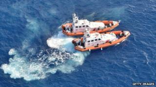 Italian coastguard boats near Lampedusa, 9 Oct 13