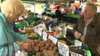 Emyr Owen on the stall he has at Llangefni market