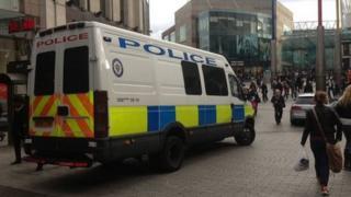 Police van in the Bullring, Birmingham