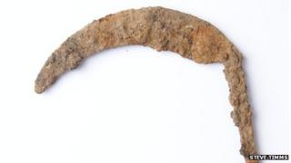 Iron sickle discovered at Potgate Quarry