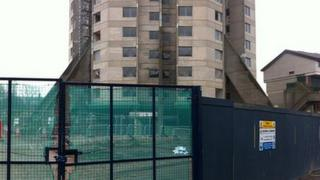 """The """"Rocket"""" surrounded by railings ahead of its demolition"""