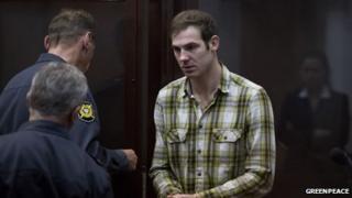 Kieron Bryan at bail hearing in Murmansk, Russia