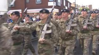 Wiltshire-based 22 Regiment Royal Engineers march in Andover