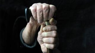 Elderly person holding on to walking stick