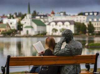 Woman reading in Reykjavik