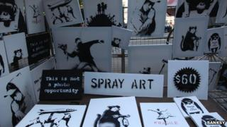 Bansky canvasses on sale in New York