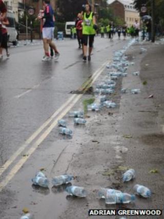 Water bottles on road during Oxford Half Marathon