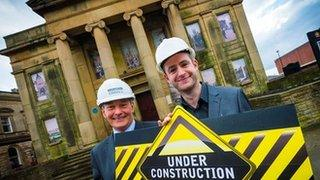 Andrew Barker, senior operations manager at Morgan Sindall (left) and Oldham Council leader, Jim McMahon (right) outside the Old Town Hall