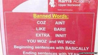 Poster showing the banned words at Harris Academy