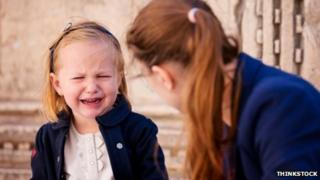 Generic image of a girl crying as she's scolded by her mother