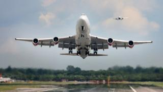 Aircraft taking off at Gatwick Airport