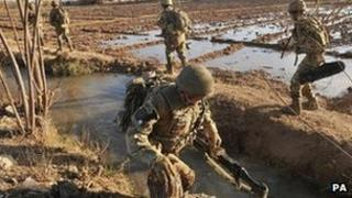 British troops in the Nahr-e Saraj district of Helmand province in January 2012