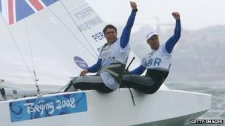 Andrew Simpson and Iain Percy celebrate their Olympic gold in 2008