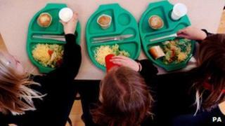 Children having school meals