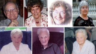 Wilfred Gardner, Margaret Tucker, Jean Leatherbarrow, Jean Halfpenny, Enid Trodden, Bertram Jerome and Doris Fielding