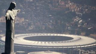 Christ the redeemer statue and Maracana stadium in Rio de Janeiro