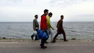 Migrants on the Greek island of Lesvos in March 2013