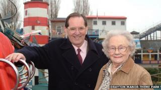George and wife Vera Bryan by the Stormforce ride at Drayton Manor Theme Park