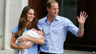 Duke and Duchess of Cambridge with Prince George on 23 July 2013