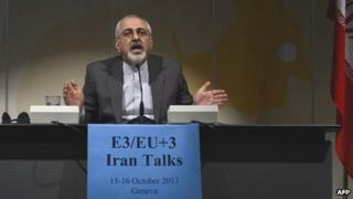 Iranian Foreign Minister Mohammad Javad Zarif speaks during a press conference closing a two-day of closed-door nuclear talks on October 16, 2013 in Geneva.