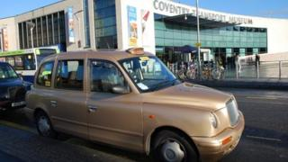 Taxi outside the Coventry Transport Museum