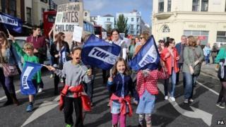 Children of striking school teachers at Brighton march