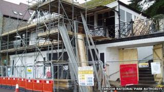 Demolition preparation at the old Lynmouth Pavilion