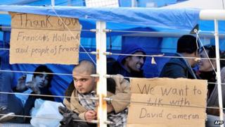 Syrian refugees at the port of Calais