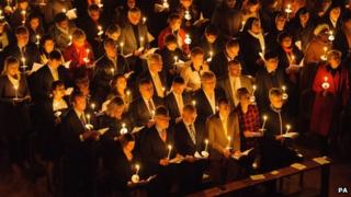 Worshippers at Westminster Cathedral