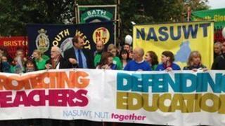 Teacher strike rally