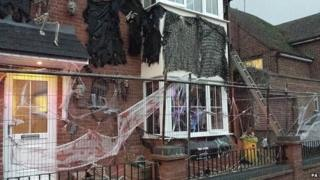 House decorated with Halloween display