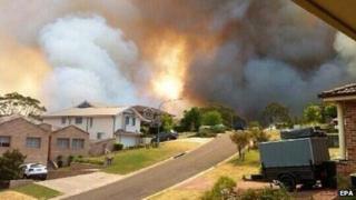 Bushfire as seen from Stapylton Street in Springwood, NSW, Australia 19 October 2013