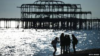 Brighton beach and ruined West Pier