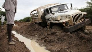 A truck stuck in the mud in Abyei (October 2013)