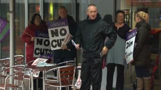 mini protest outside Carmarthenshire council